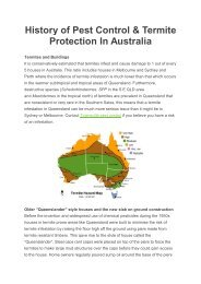 History of Pest Control & Termite Protection In Australia