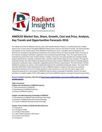AMOLED Market Size, Share, Cost and Price, Analysis, Key Trends and Opportunities Forecasts 2016