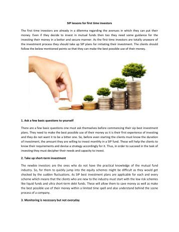 SIP lessons for first time investors