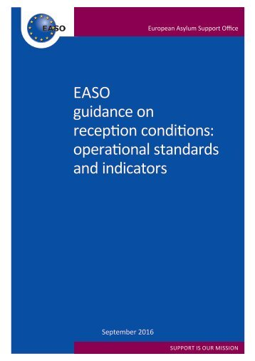 EASO guidance on reception conditions operational standards and indicators