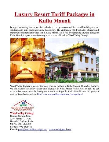 Luxury Resort Tariff Packages in Kullu Manali