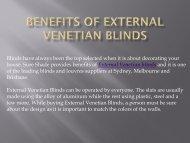 Benefits of External Venetian Blinds