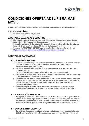 CONDICIONES OFERTA ADSL/FIBRA MÁS MÓVIL