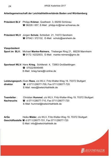 Kaderliste Baden-Württemberg 2017