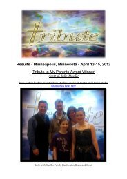 Results - Minneapolis, Minnesota - April 13-15, 2012 Tribute to My ...