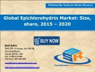 Global Epichlorohydrin Market: Size, share, 2015 – 2020