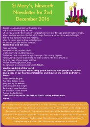 St Mary's Isleworth Newsletter for 2nd December 2016