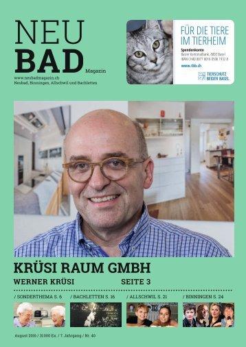 Neubadmagazin August 2016