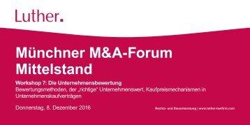 Münchner M&A-Forum Mittelstand