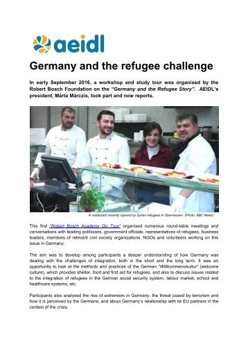 Germany and the refugee challenge