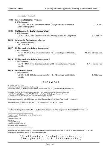 Biologie - koost - Universität zu Köln
