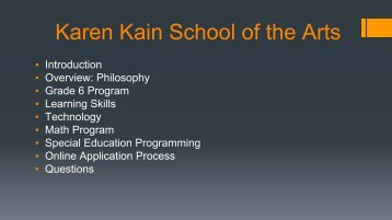 Karen Kain School of the Arts