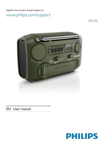 Philips Radio portable - Mode d'emploi - AEN