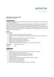 Job Profile Managing Director Japan - Mediatum