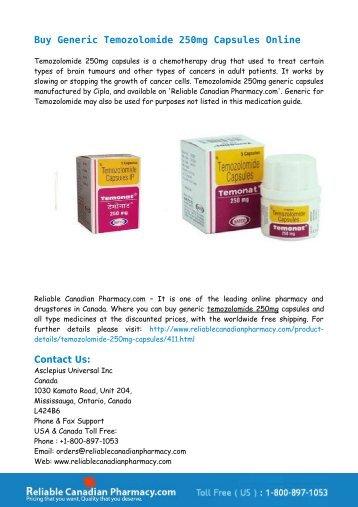 Buy Generic Temozolomide 250mg Capsules Online