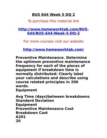 BUS 644 Week 5 DQ 2