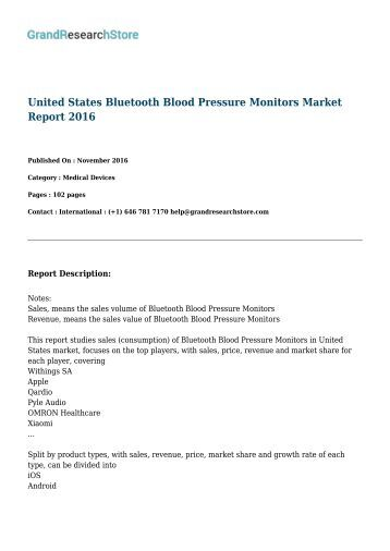 United States Bluetooth Blood Pressure Monitors Market Report 2016