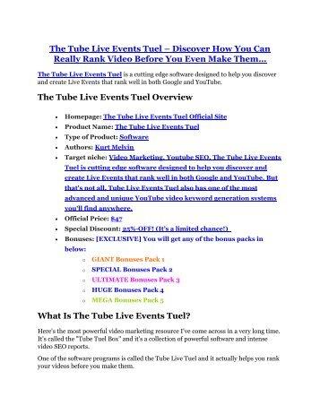 The Tube Live Events Tuel Review & (Secret) $22,300 bonus