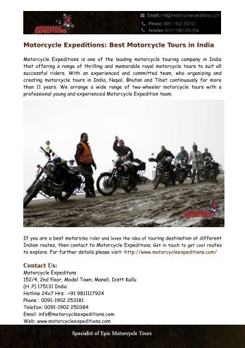Best Motorcycle Tours India: Motorcycle Expeditions