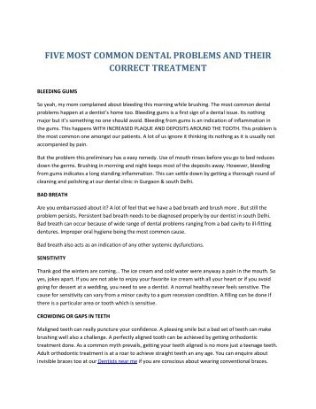 Dentists Near Me - FIVE MOST COMMON DENTAL PROBLEMS AND THEIR CORRECT TREATMENT