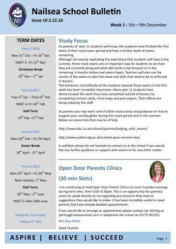 Nailsea School Bulletin