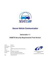 Deliverable 1.1 VANETS Security Requirements Final ... - Sevecom