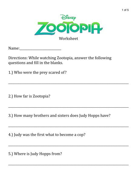 Zootopia Worksheet