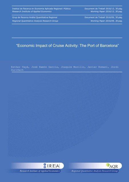 """Economic Impact of Cruise Activity The Port of Barcelona"""