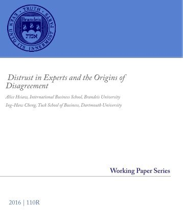Distrust in Experts and the Origins of Disagreement