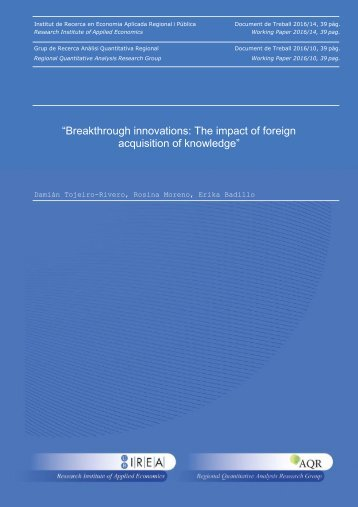 """""""Breakthrough innovations The impact of foreign acquisition of knowledge"""""""
