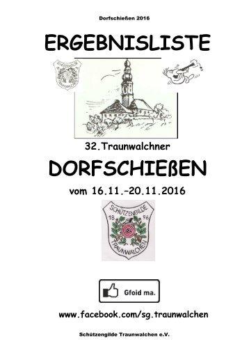 Ergebnisliste Traunwalchner Dorfschießen 2016