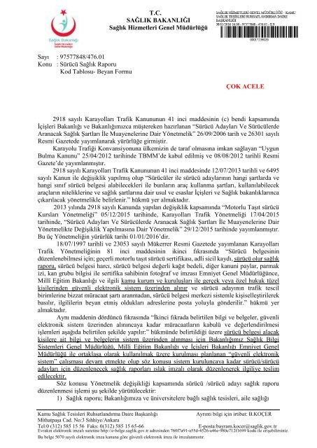 4118 Surucu Saglik Raporu Kod Tablosu Beyan Formu Ustyazipd