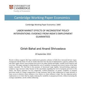Cambridge Working Paper Economics