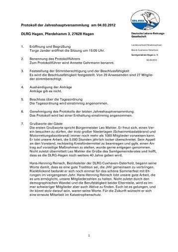 Protokoll - DLRG Ortsgruppe Samtgemeinde Hagen e.V.