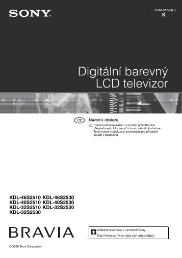Sony KDL-32S2510 - KDL-32S2510 Istruzioni per l'uso Ceco
