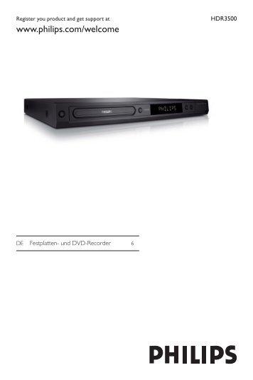 Philips Lecteur/enregistreur de DVD disque dur - Mode d'emploi - DEU