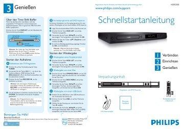 Philips Lecteur/enregistreur de DVD disque dur - Guide de mise en route - DEU