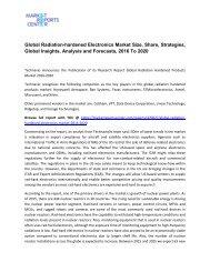 Radiation-hardened Electronic Market Size, Share, Analysis and Forecasts, 2016 To 2020