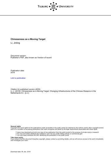 Tilburg University Chineseness as a Moving Target Li Jinling