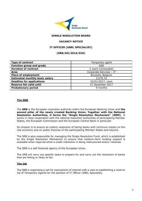 Resolution board belgium single Vacancies