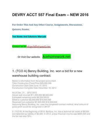 DEVRY ACCT 557 Final Exam – NEW 2016