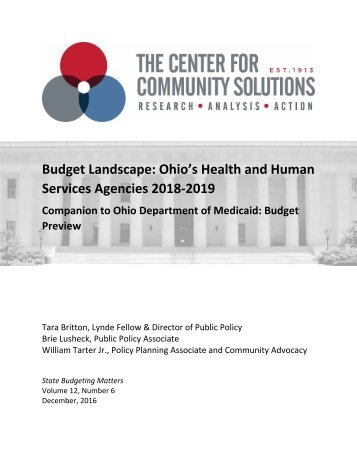 Budget Landscape Ohio's Health and Human Services Agencies 2018‐2019