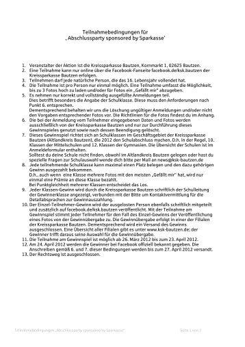 Teilnahmebedingungen für ' Abschlussparty sponsored by Sparkasse'