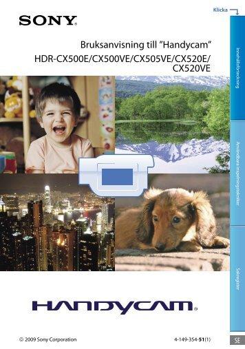 Sony HDR-CX505VE - HDR-CX505VE Istruzioni per l'uso Svedese