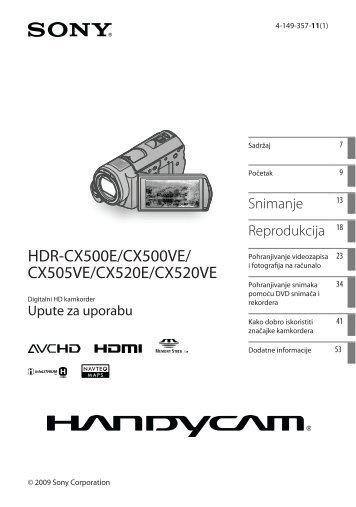 Sony HDR-CX505VE - HDR-CX505VE Istruzioni per l'uso Croato