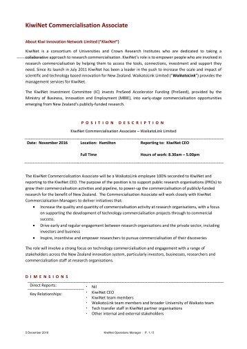 KiwiNet Commercialisation Associate