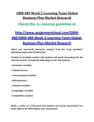 UOP GBM 489 Week 2 Learning Team Global Business Plan Market Research