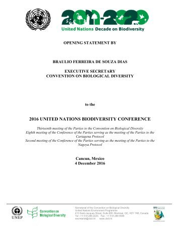 2016 UNITED NATIONS BIODIVERSITY CONFERENCE