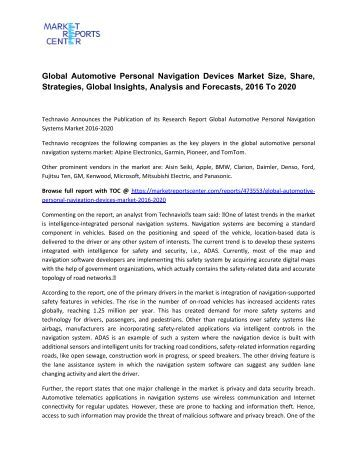 Global Automotive Personal Navigation Devices Market 2016 Industry Trends, Growth, Analysis and Forecast 2020