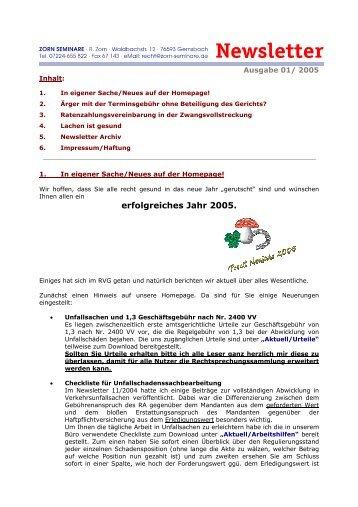 erfolgreiches Jahr 2005. - Zorn-Seminare